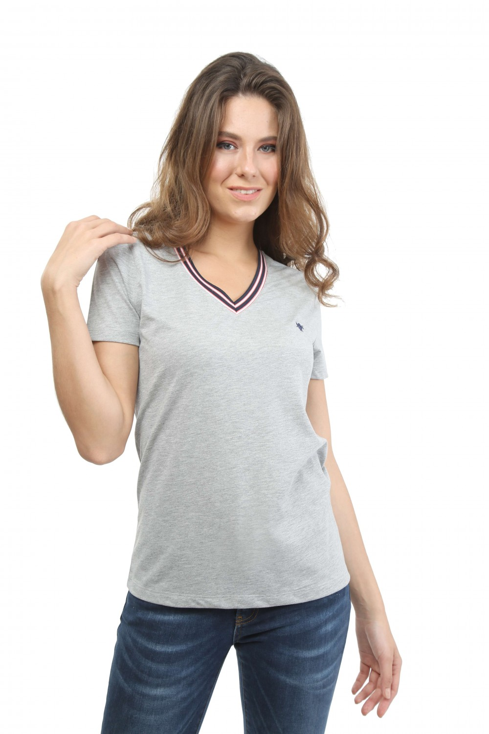 Damen Polo Shirt GRAU MELANGE