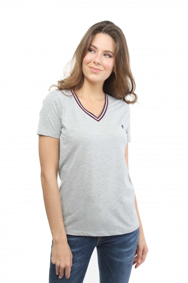 Damen Polo Shirt GRAU MELANGE