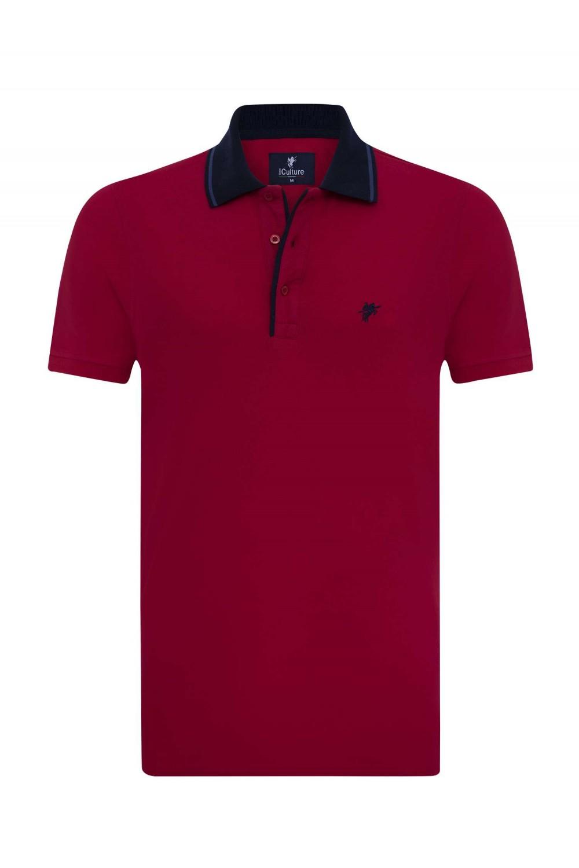 Herren Polo Shirt ROT-NAVY