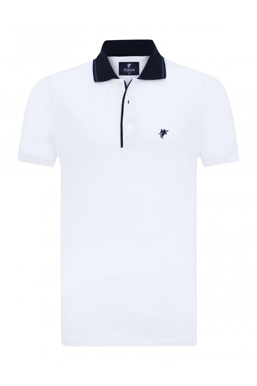 Herren Polo Shirt WEISS-MARINE