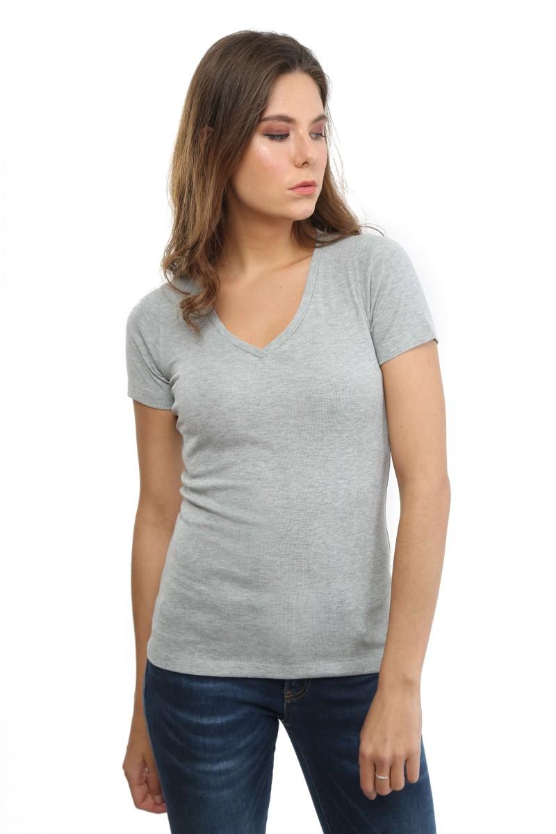 Damen T-Shirt GRAU MELANGE