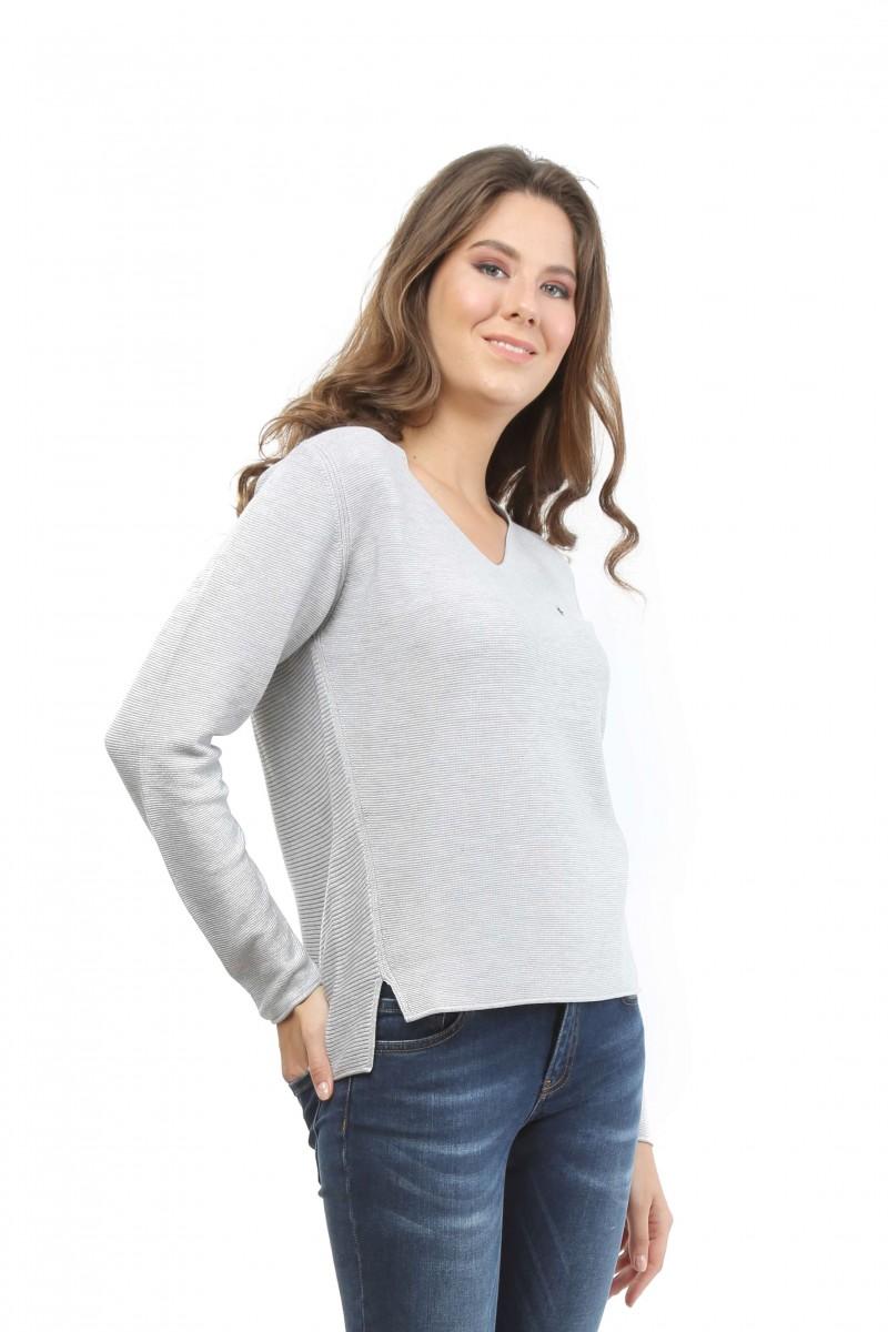 Damen Pullover GRAU MELANGE
