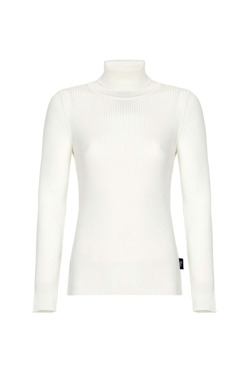 Damen Rollkragen Pullover ECRU