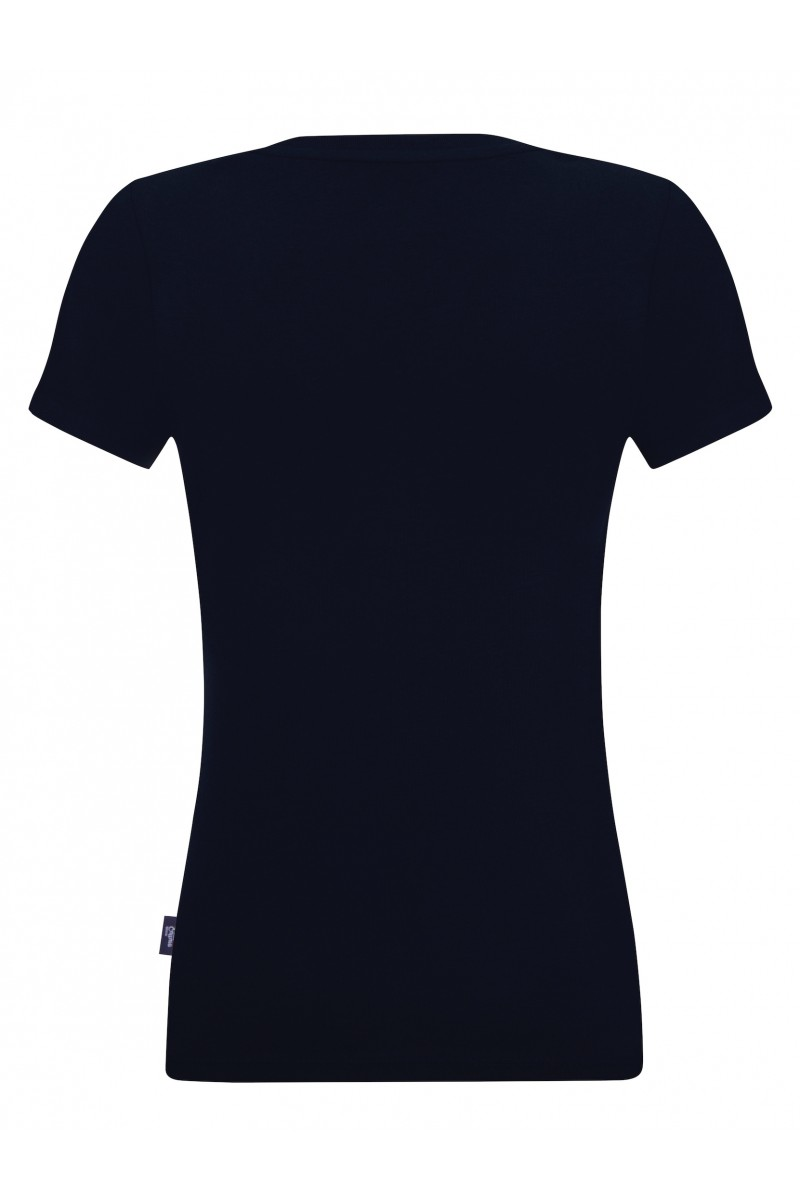 Women's T-Shirt V-neck Navy Cotton