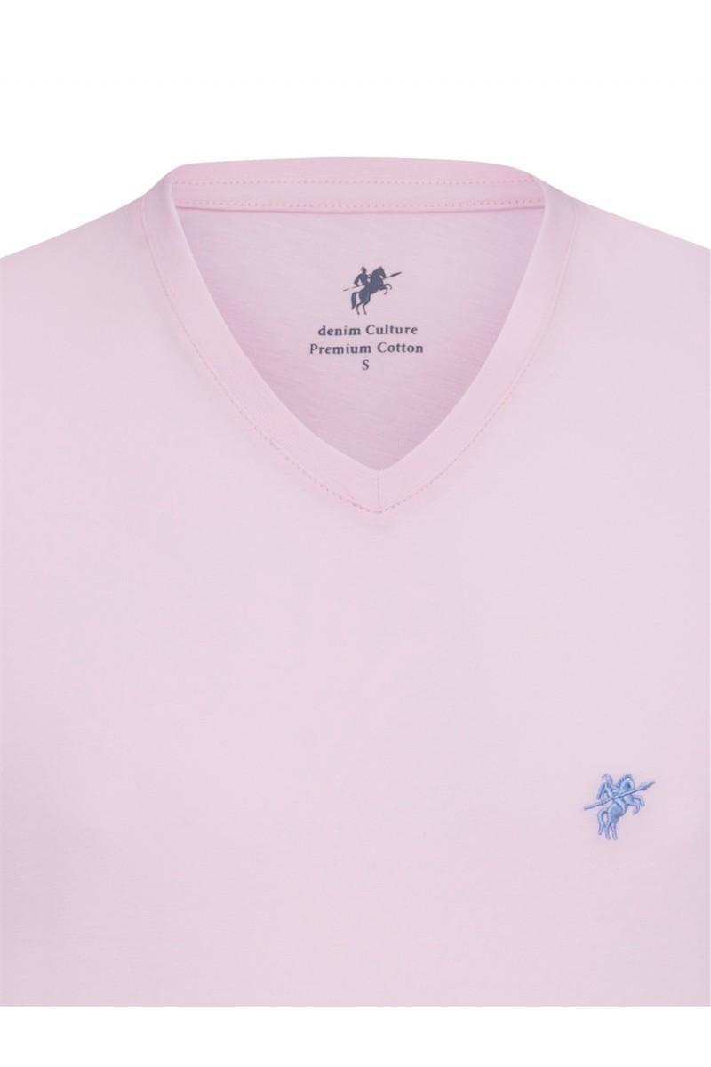 Herren T-Shirt V-Ausschnitt PUDER Baumwoll