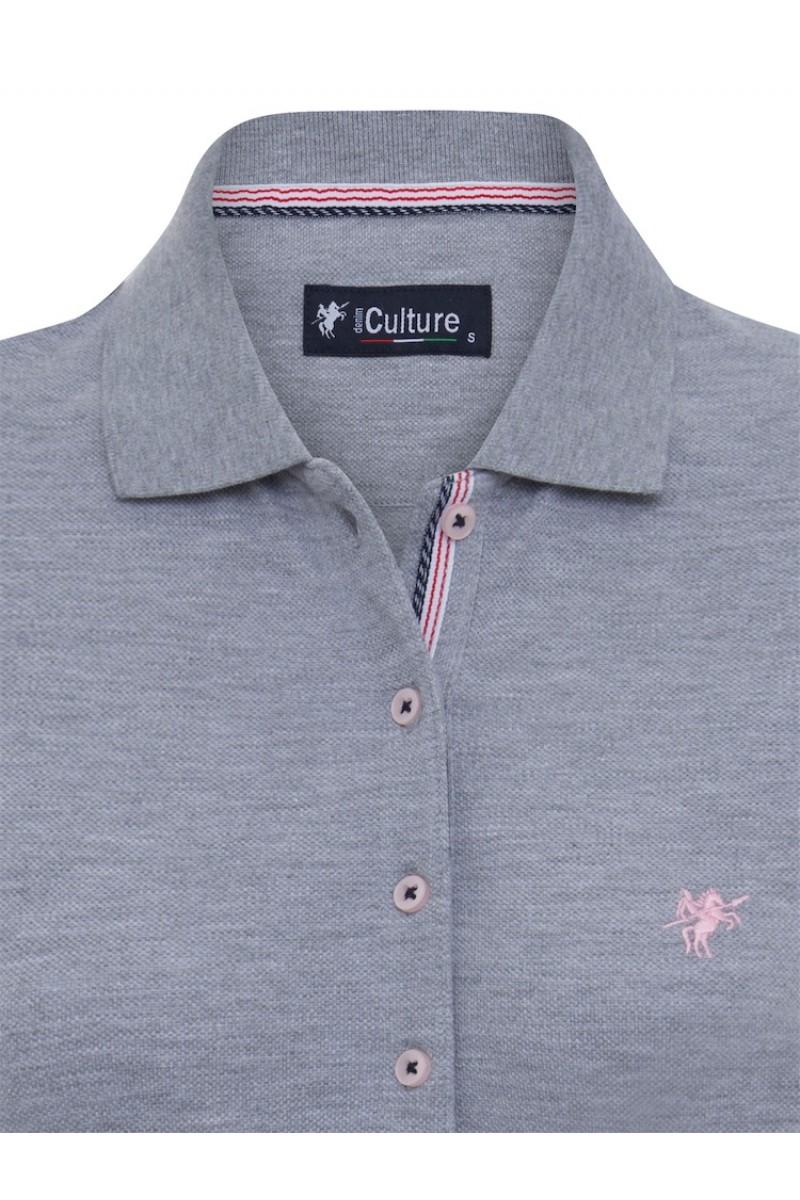 GRAU MEL. Baumwoll Poloshirt für Damen