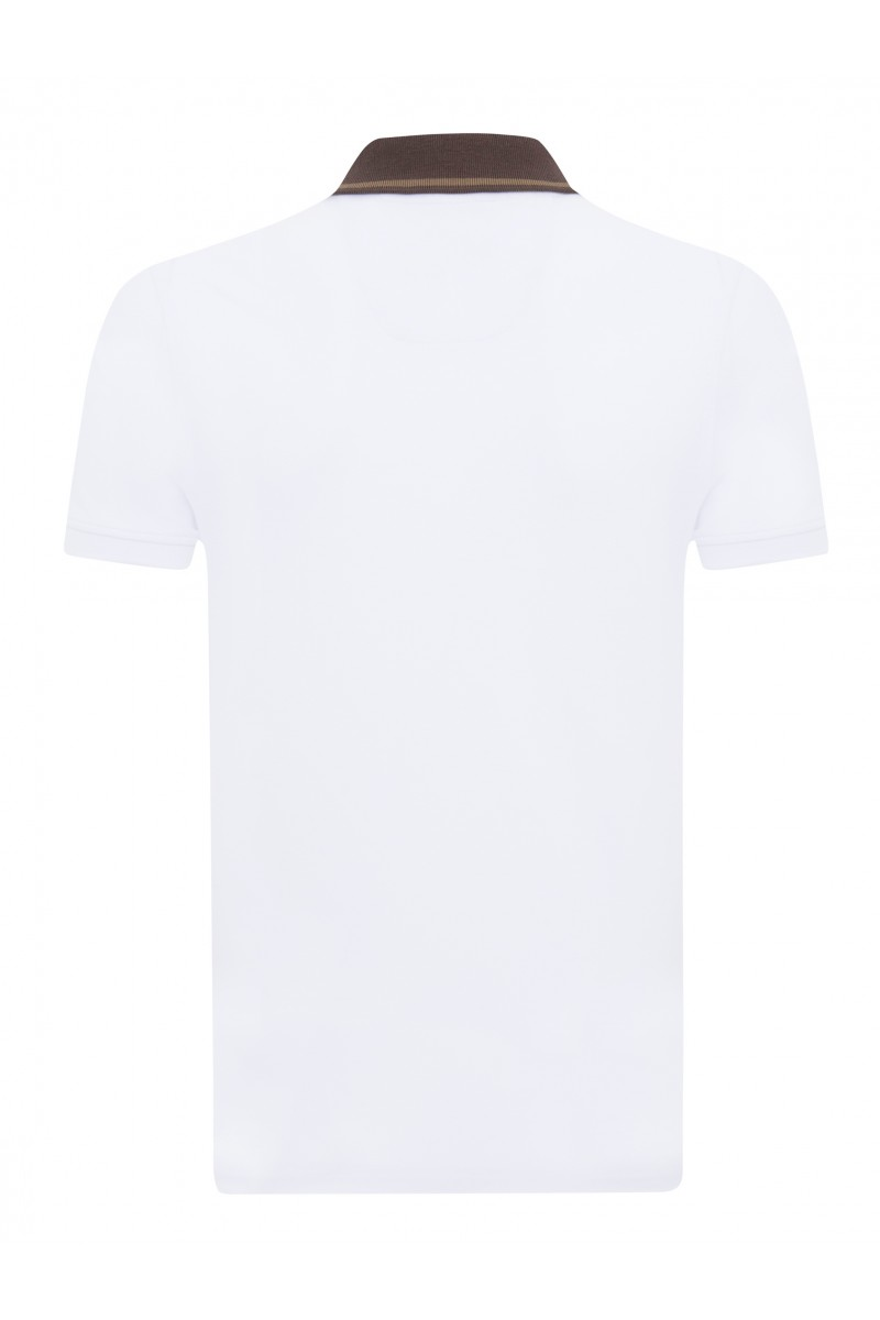 Men's Poloshirt Knitted White-Heather Beige Cotton