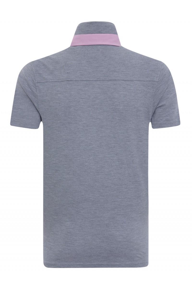 Baumwoll Poloshirt Doppelkragen GRAU MEL. für Herren