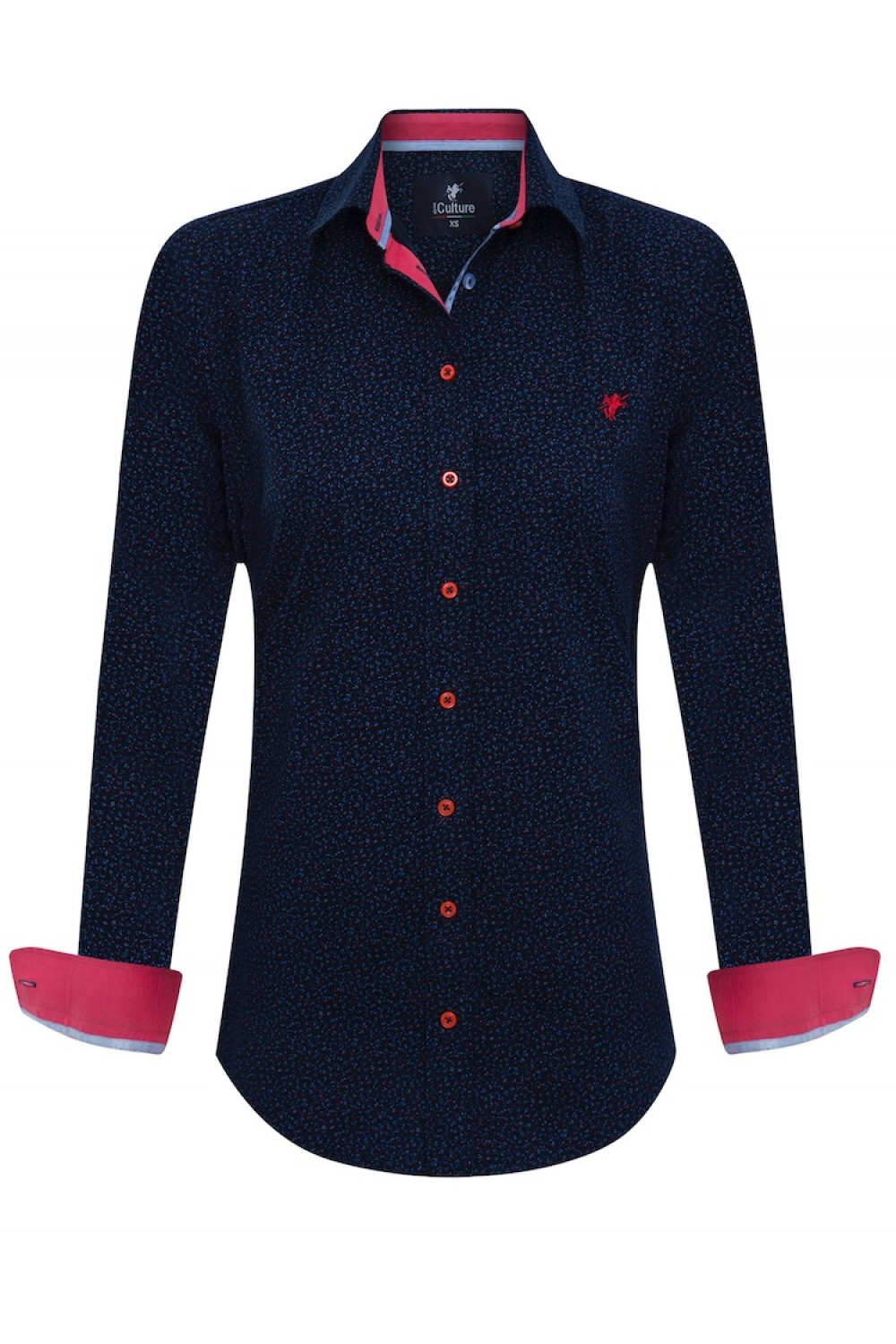 Women's Blouse Navy-Royal Flower Pattern Cotton
