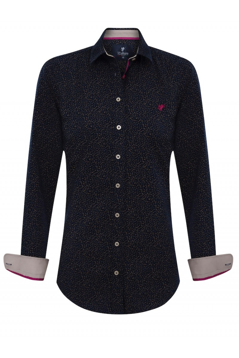 Women's Blouse Navy-Heather Beige Flower Pattern Cotton