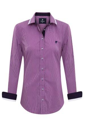 Damen Blusen Hemden D.PINK Gestreiftes Blusen Baumwolle