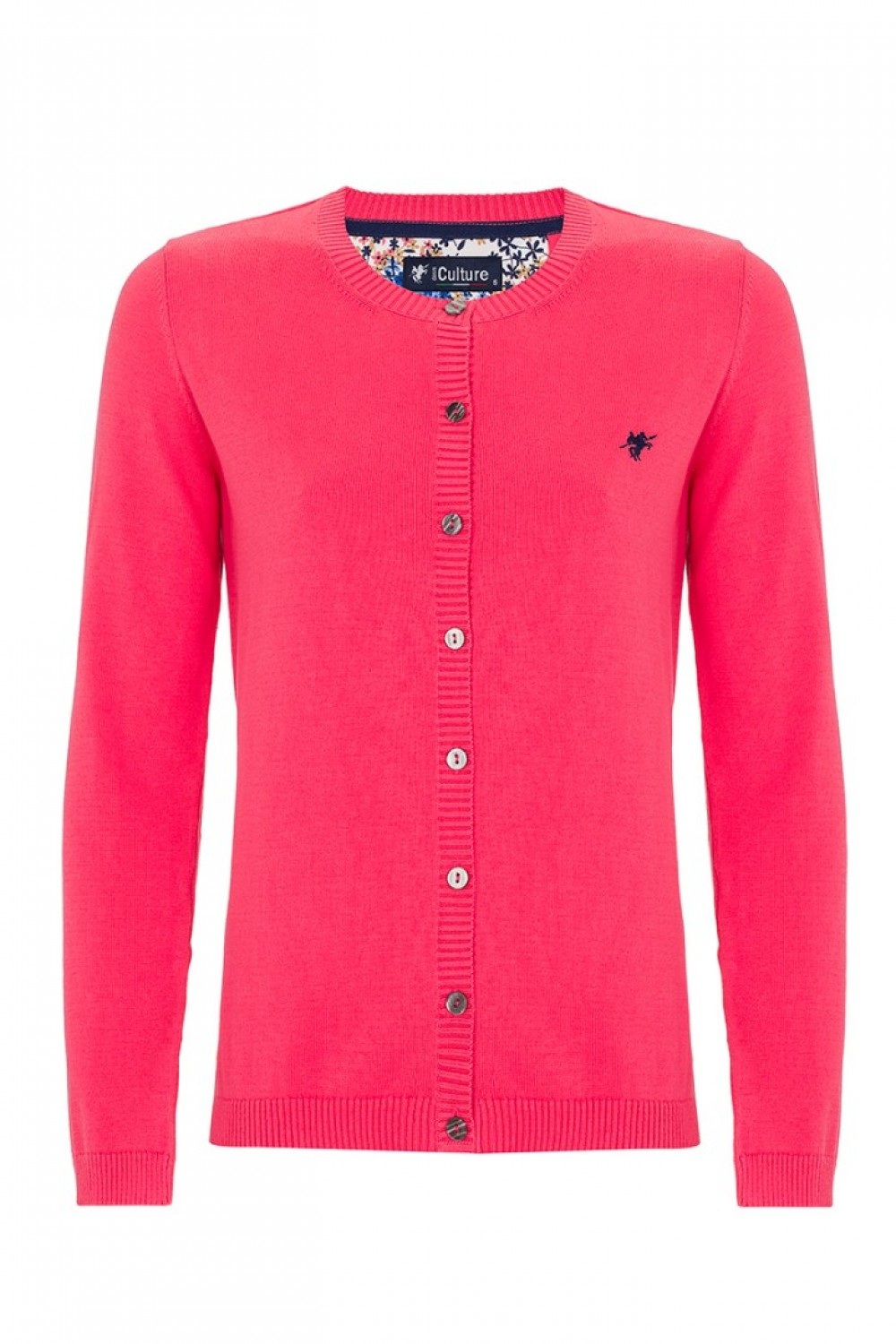 Women's Cardigan Button Crew Neck Coral