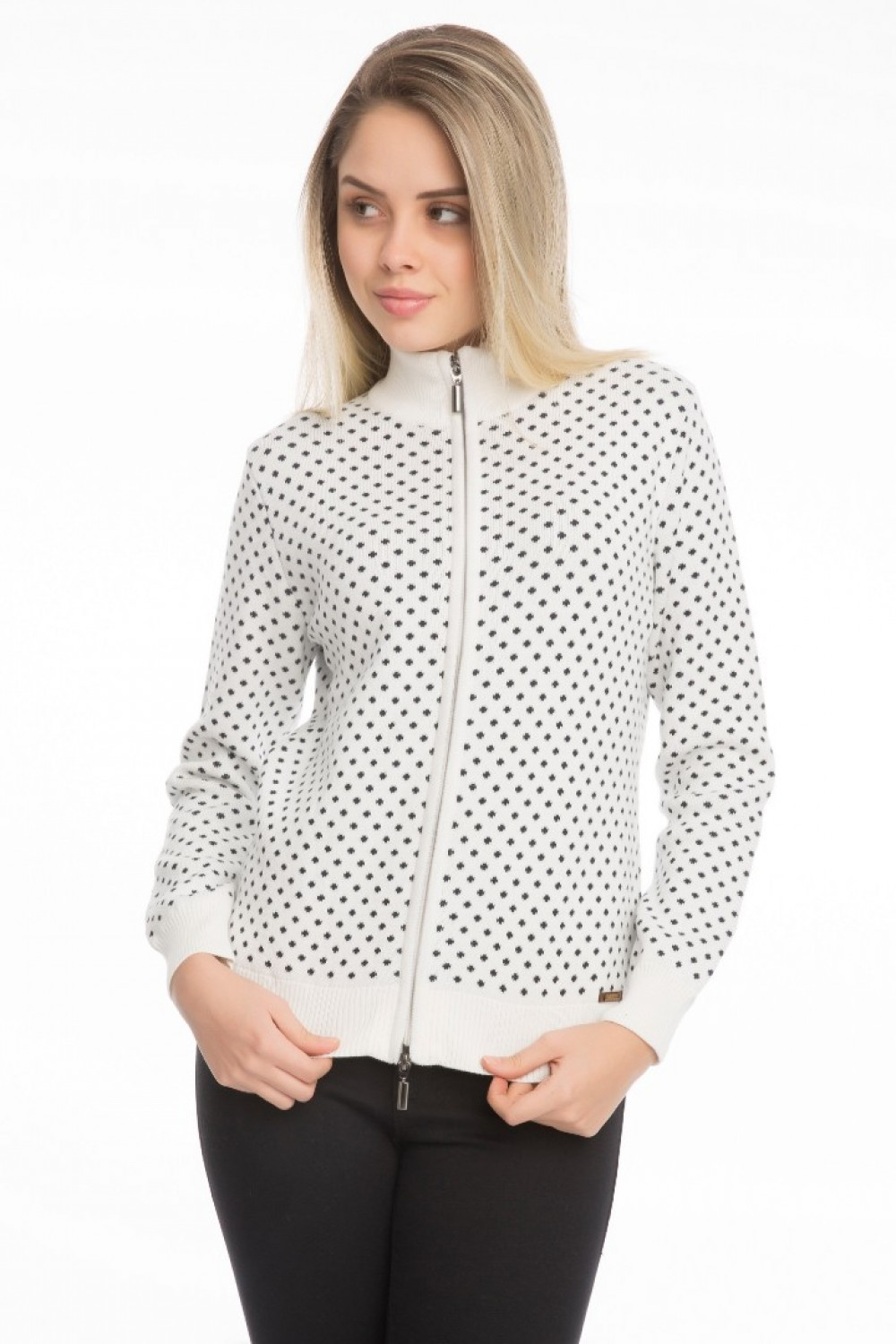 Women's Cardigan Zip Knit Collar Ecru