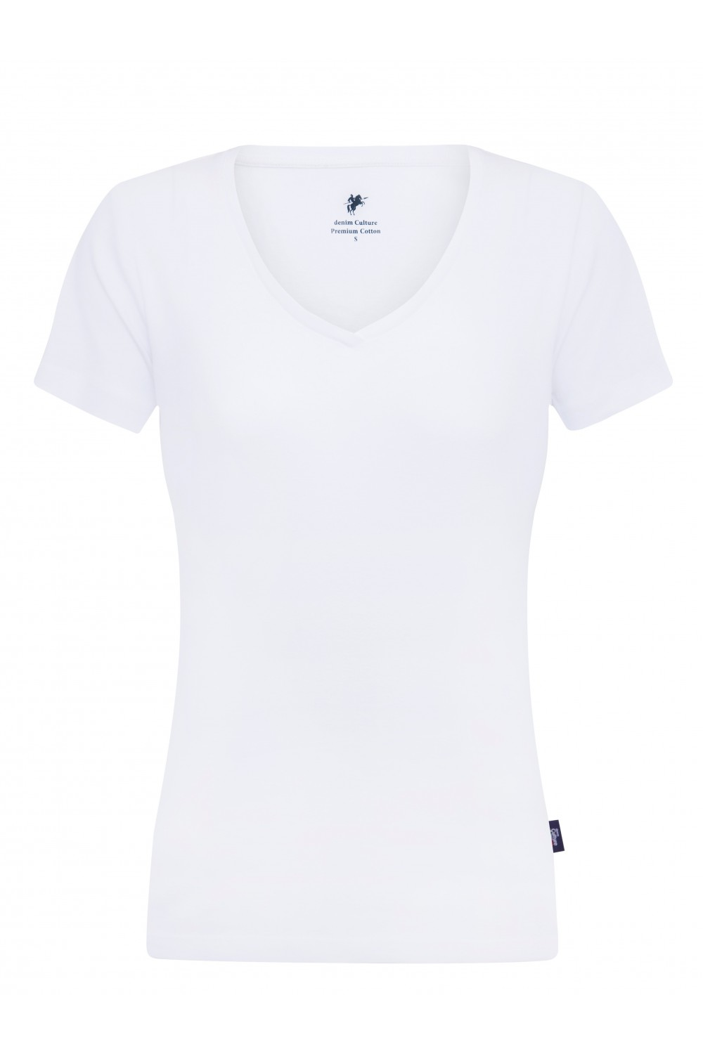 Women's T-Shirt V-neck White Cotton