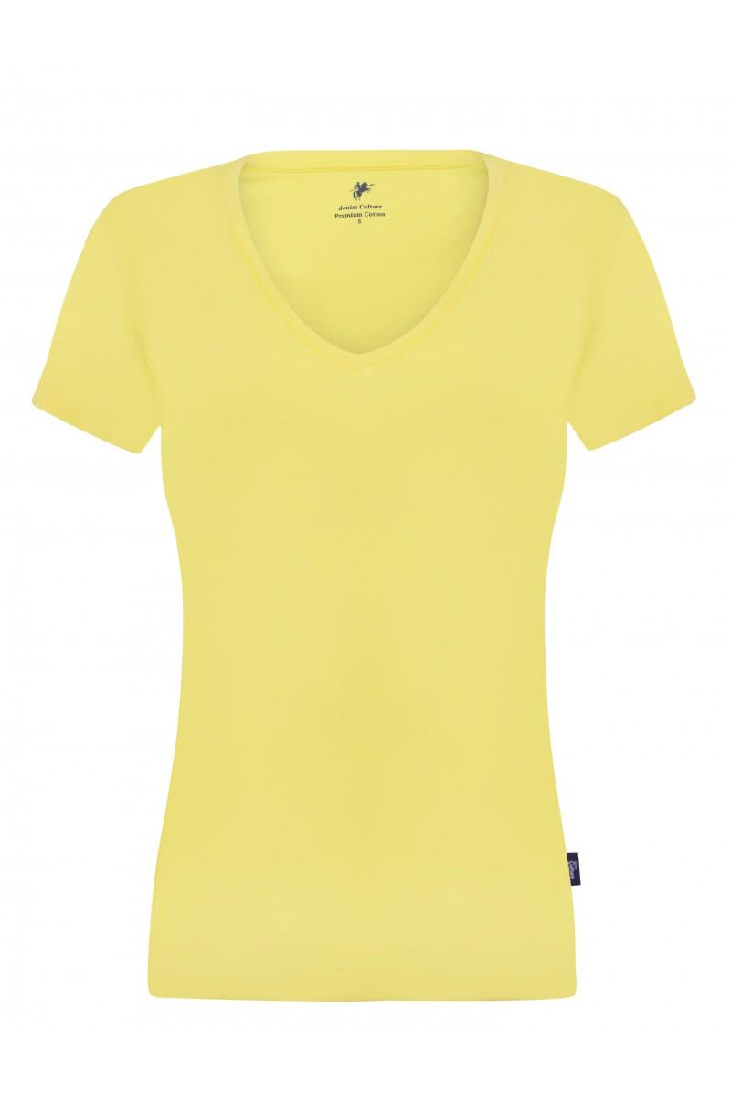 Damen T-Shirt V-Ausschnitt WEISS Baumwoll