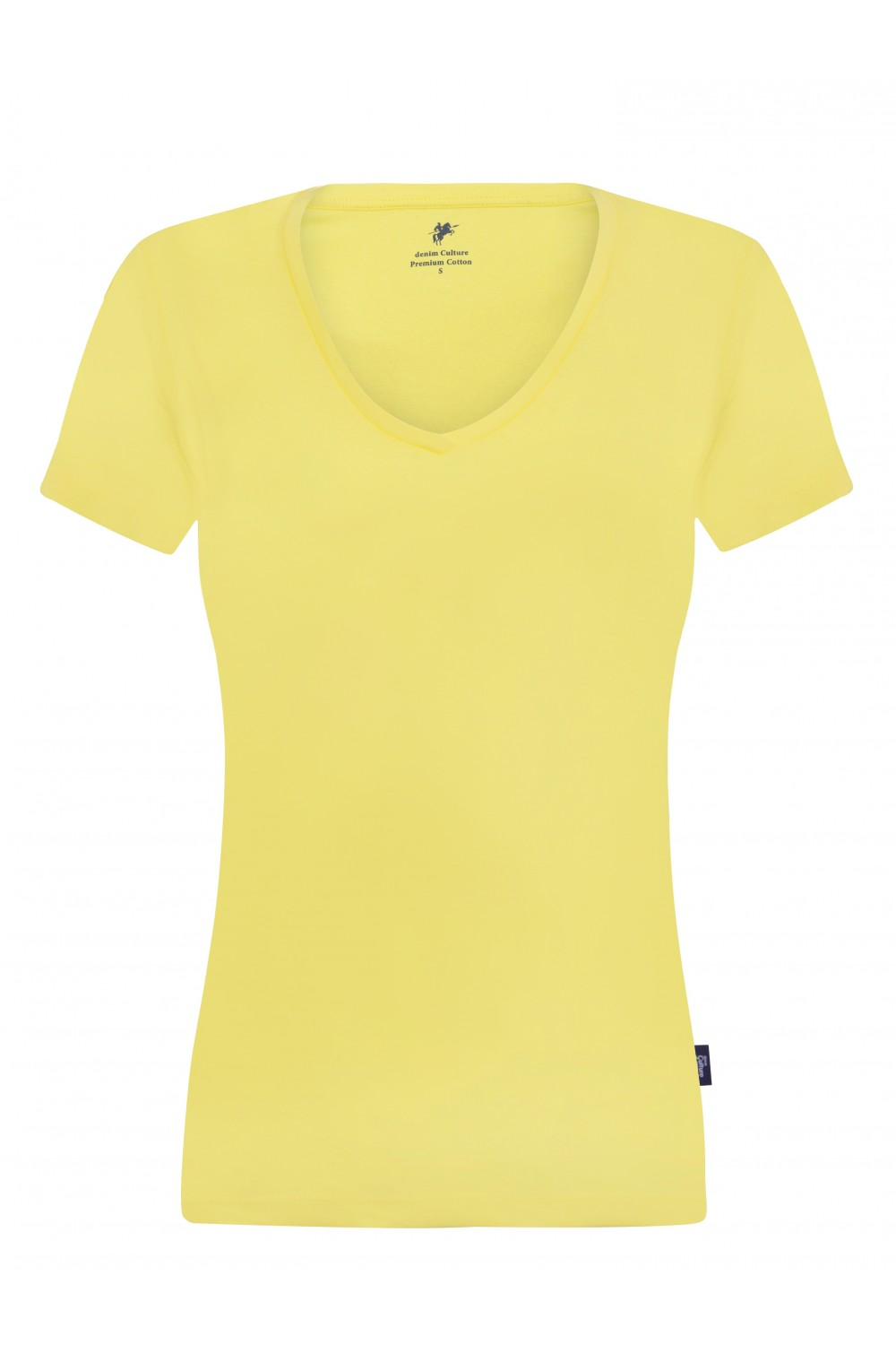 Women's T-Shirt V-neck Yellow Cotton
