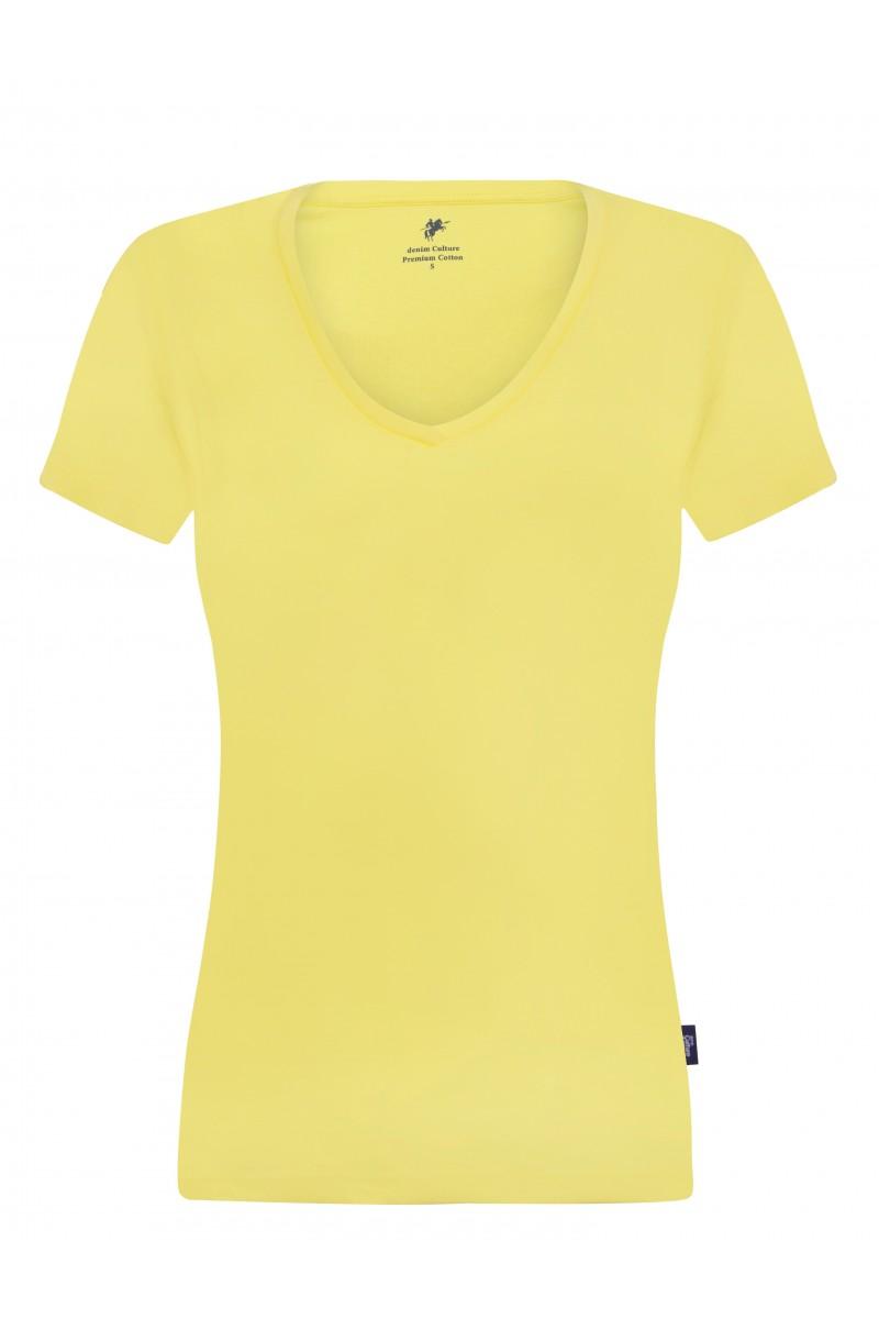 Damen T-Shirt V-Ausschnitt GELB Baumwoll