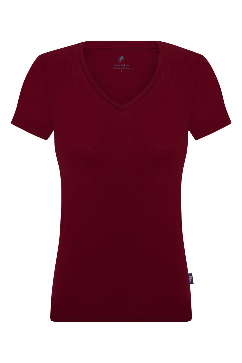 Women's T-Shirt V-neck Bordeaux Cotton