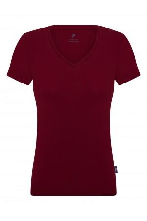Damen T-Shirt V-Ausschnitt BORDOAUX Baumwoll