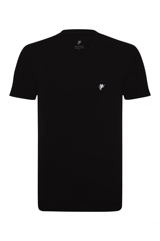 Herren T-Shirt V-Ausschnitt BLACK Baumwoll