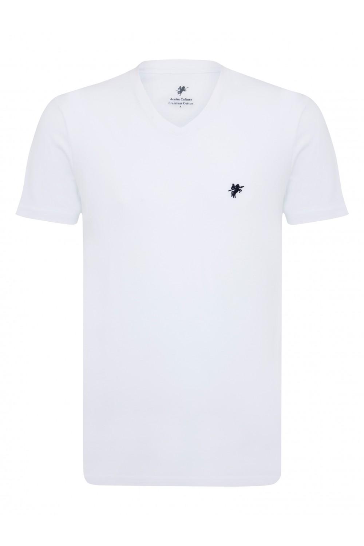 Herren T-Shirt V-Ausschnitt WEISS Baumwoll