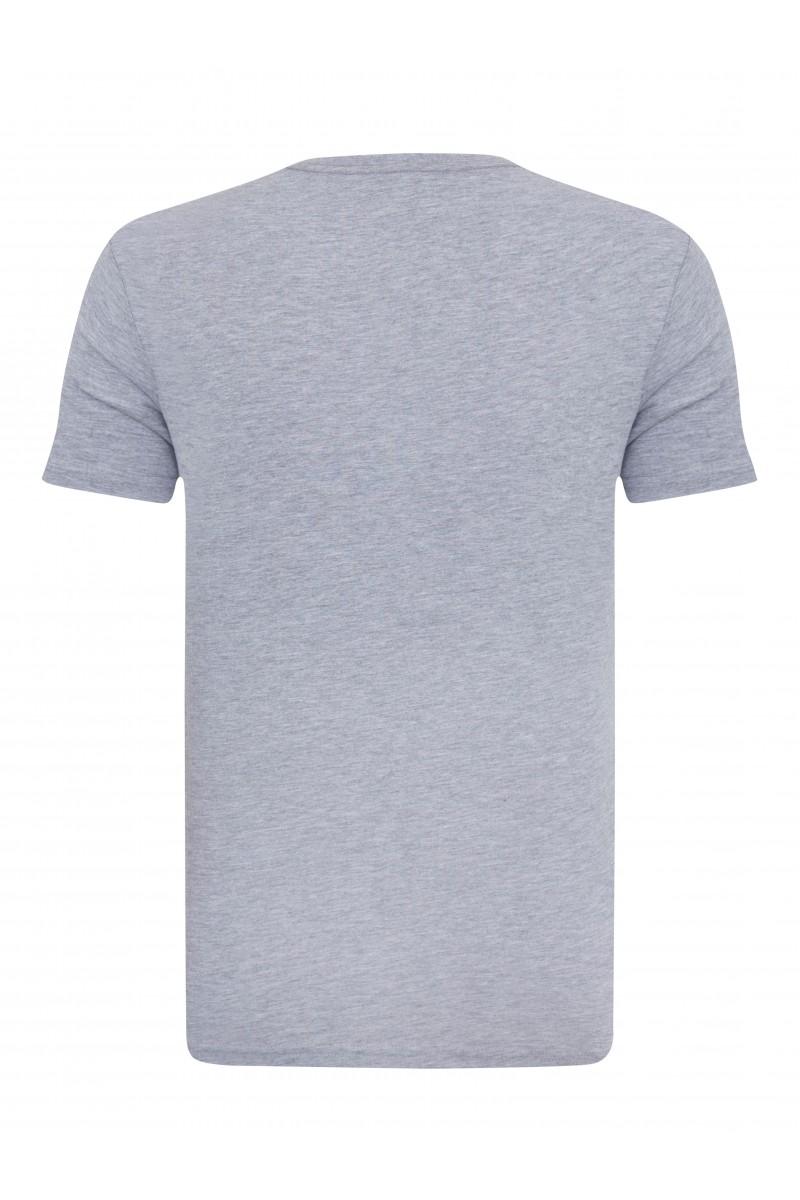 Herren T-Shirt V-Ausschnitt GRAU MEL. Baumwoll