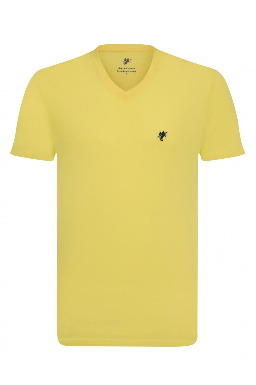 Herren T-Shirt V-Ausschnitt GELB Baumwoll