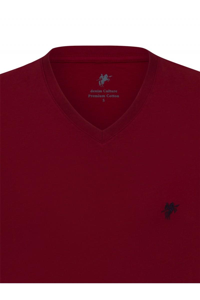 Herren T-Shirt V-Ausschnitt BORDOAUX Baumwoll