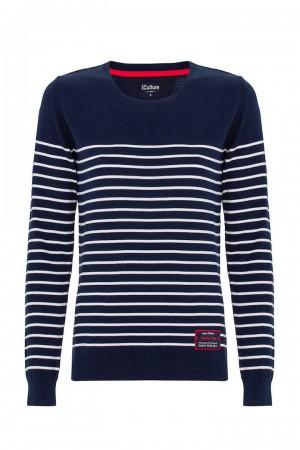 Baumwoll Pullover Rundhals NAVY für Damen