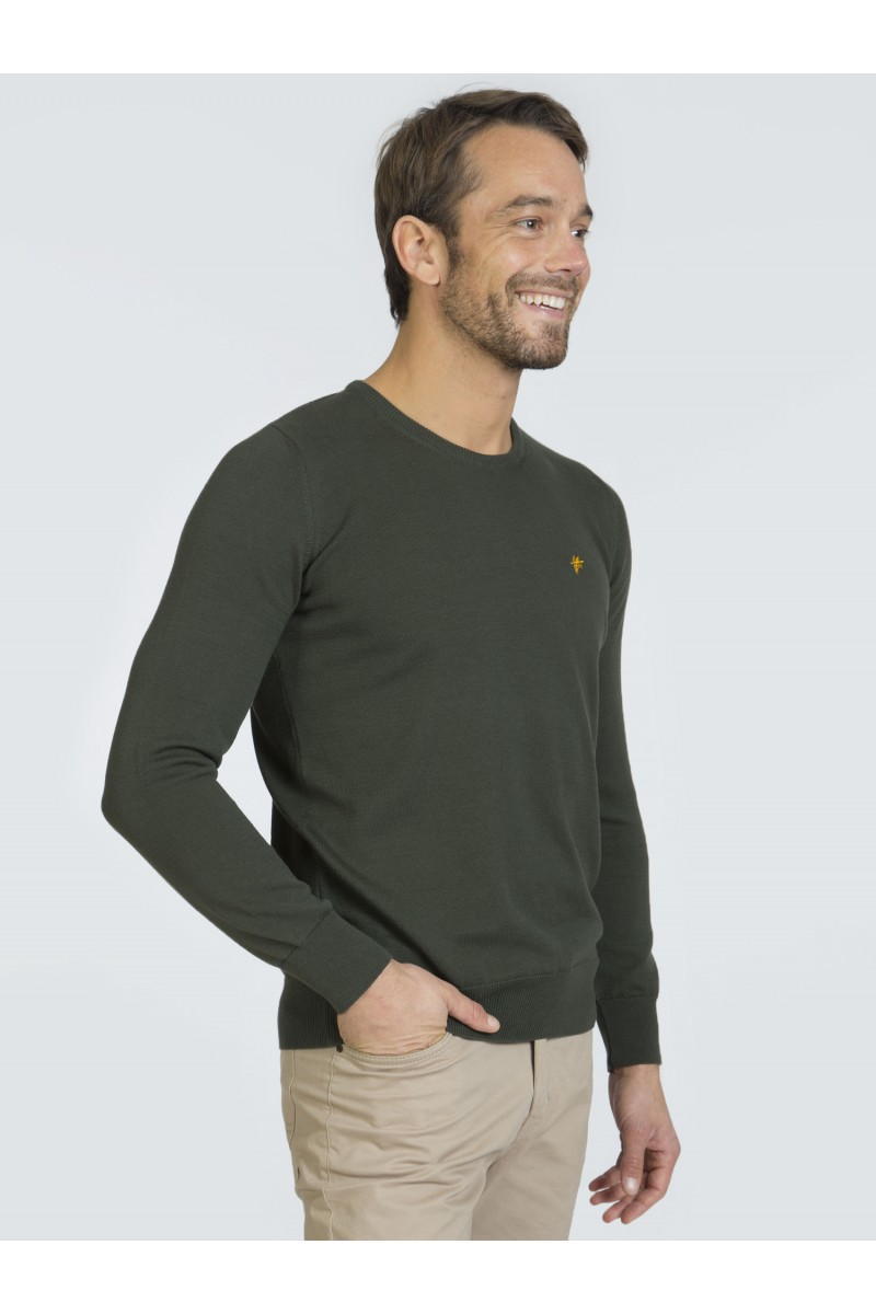 Men's Pullover  Crew Neck Khaki Cotton