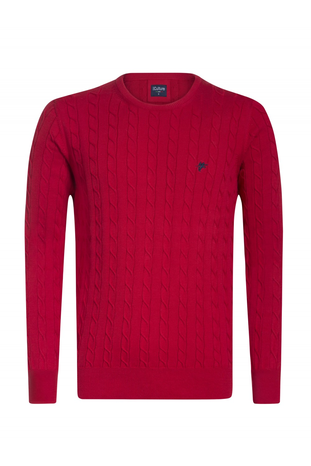 Men's Pullover  Crew Neck Red Cotton