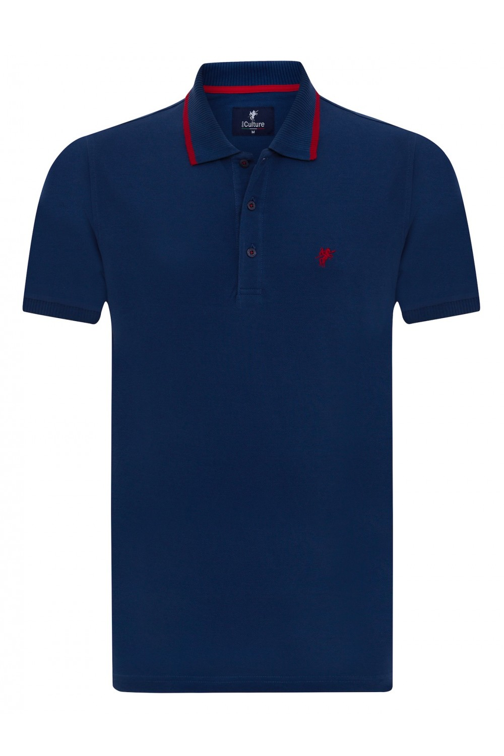 Men's Poloshirt Knitted Marine Cotton