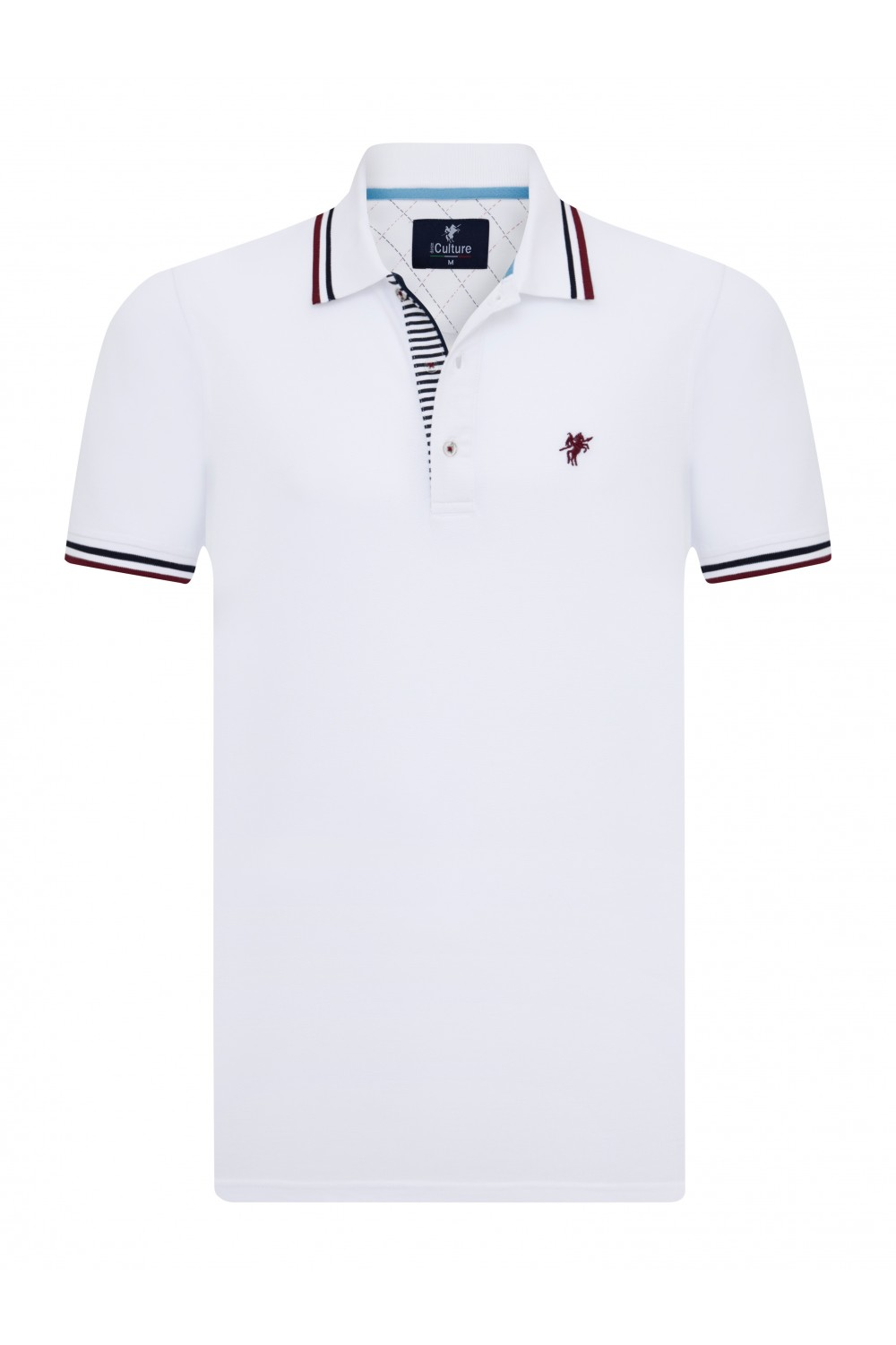 Men's Poloshirt Knitted White Cotton