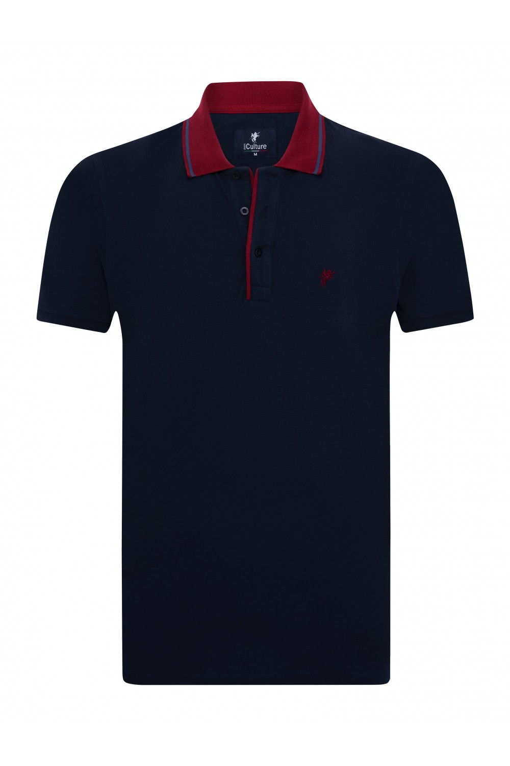 Men's Poloshirt Knitted Navy-Bordeaux Cotton