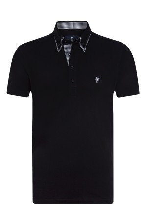 Baumwoll Poloshirt Doppelkragen BLACK für Herren