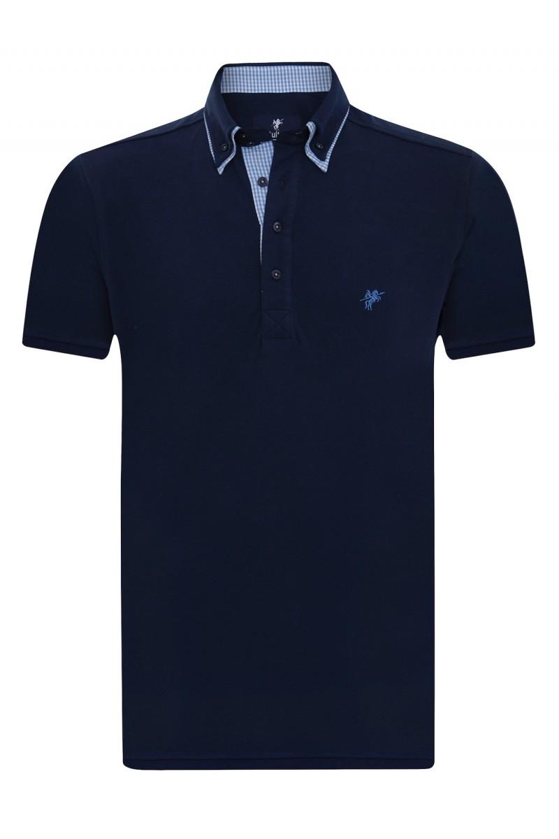 Baumwoll Poloshirt Doppelkragen NAVY für Herren