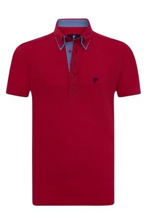 Baumwoll Poloshirt Doppelkragen ROT für Herren