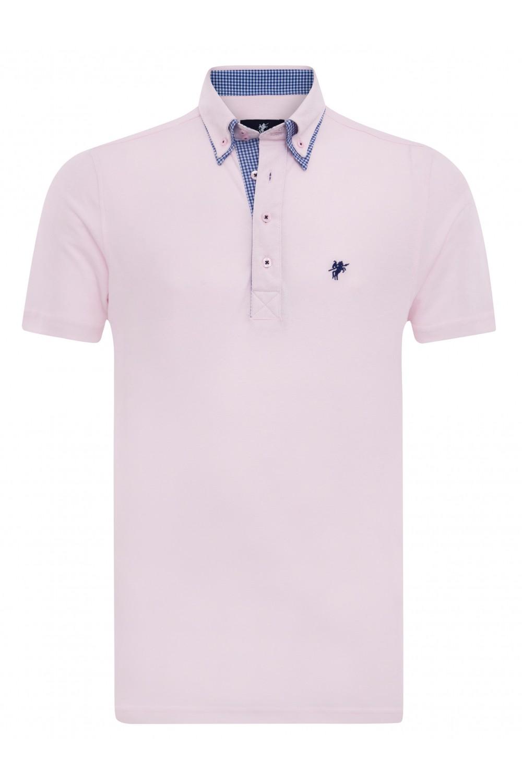 Baumwoll Poloshirt Doppelkragen PUDER für Herren