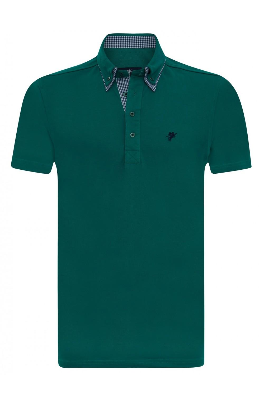 Men's Poloshirt Knitted Petrol Cotton