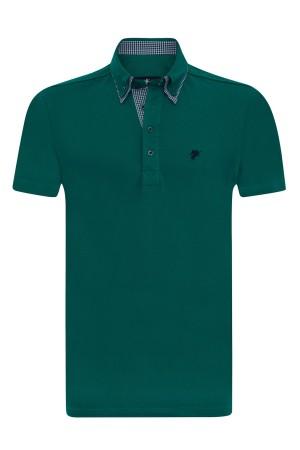 Baumwoll Poloshirt Doppelkragen PETROL für Herren