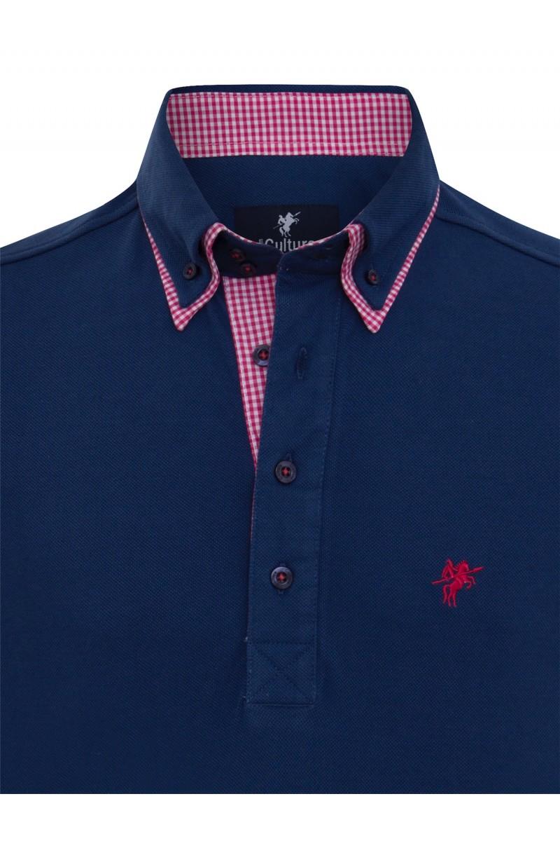 Baumwoll Poloshirt Doppelkragen MARINE für Herren