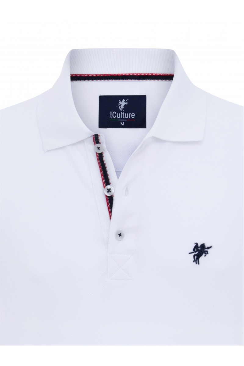 Men's Poloshirt Knitted White Cotton
