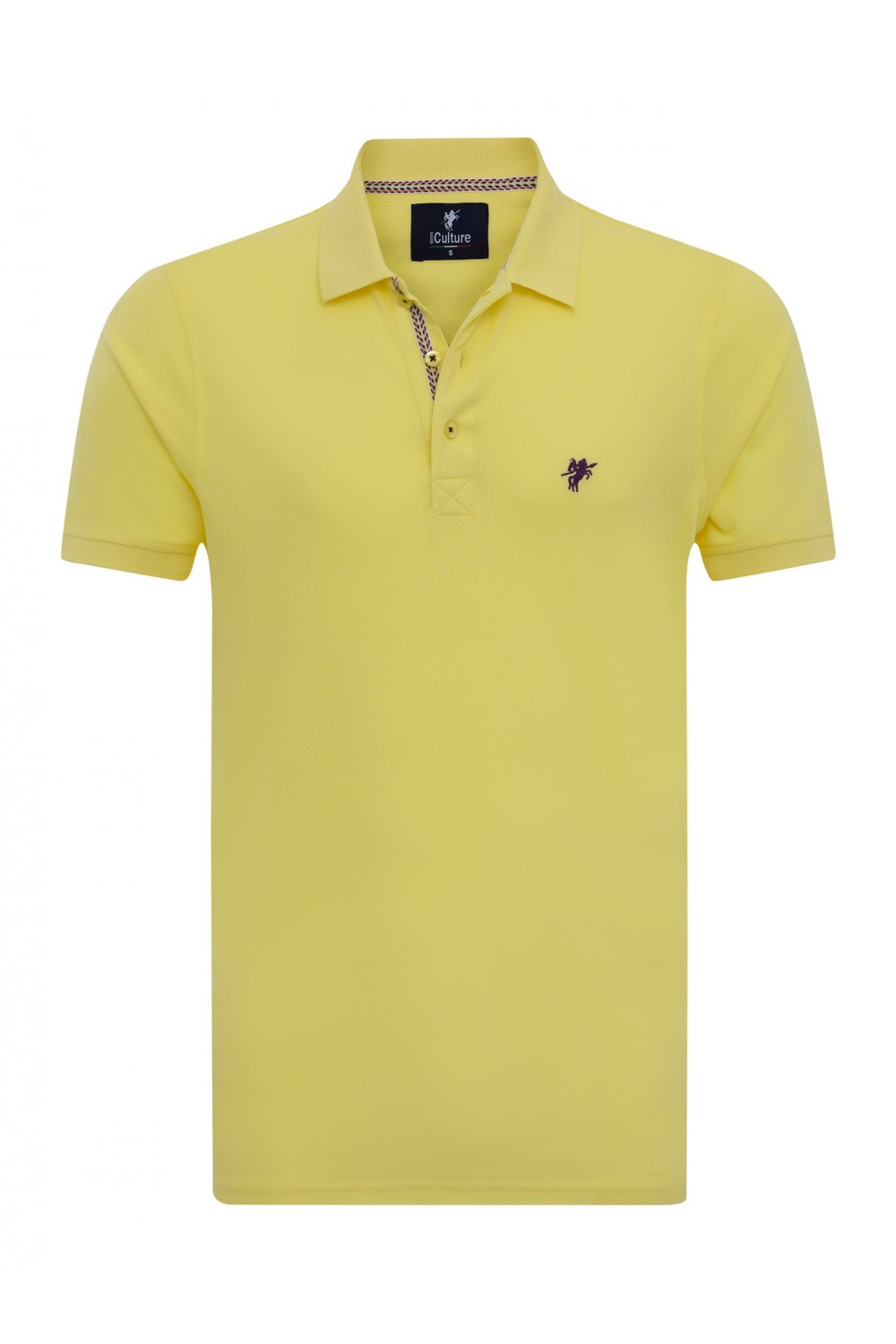 Men's Poloshirt Knitted Yellow Cotton