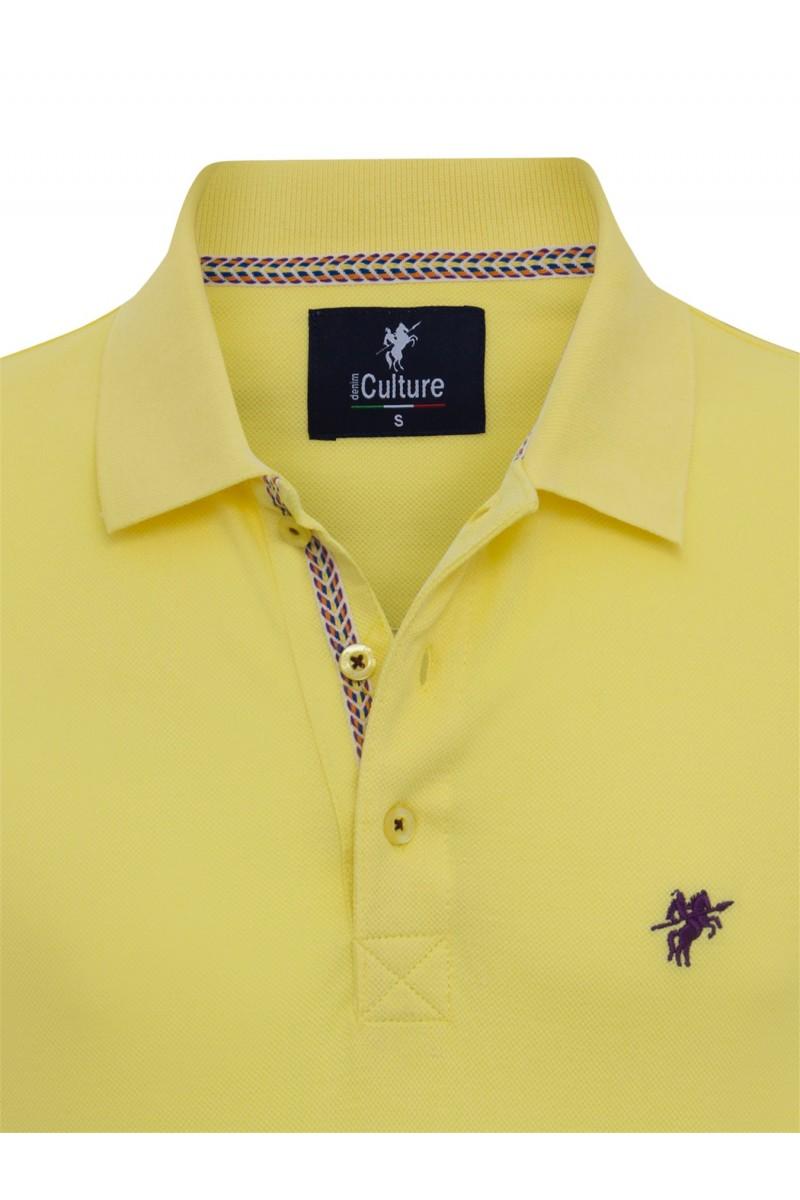 Men's Poloshirt Knitted Yellow Cotton
