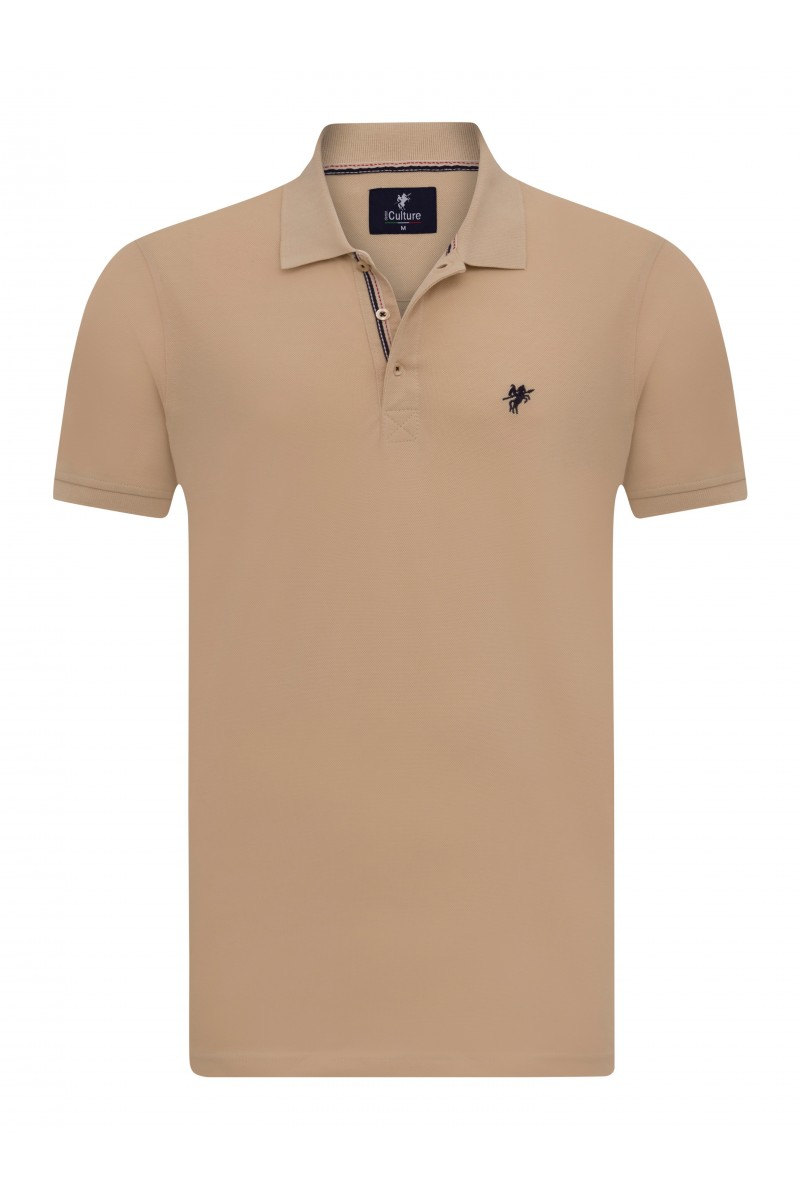 Men's Poloshirt Knitted Heather Beige Cotton