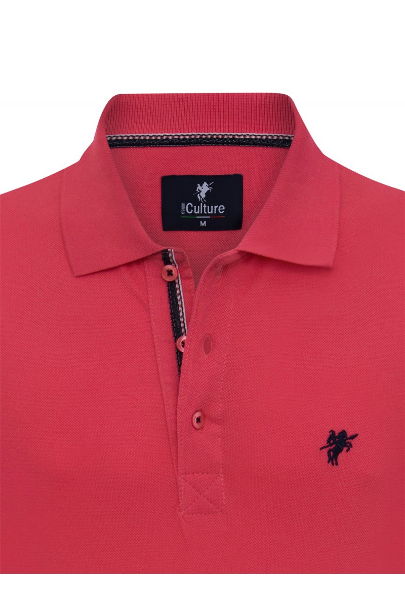 Men's Poloshirt Knitted Coral Cotton