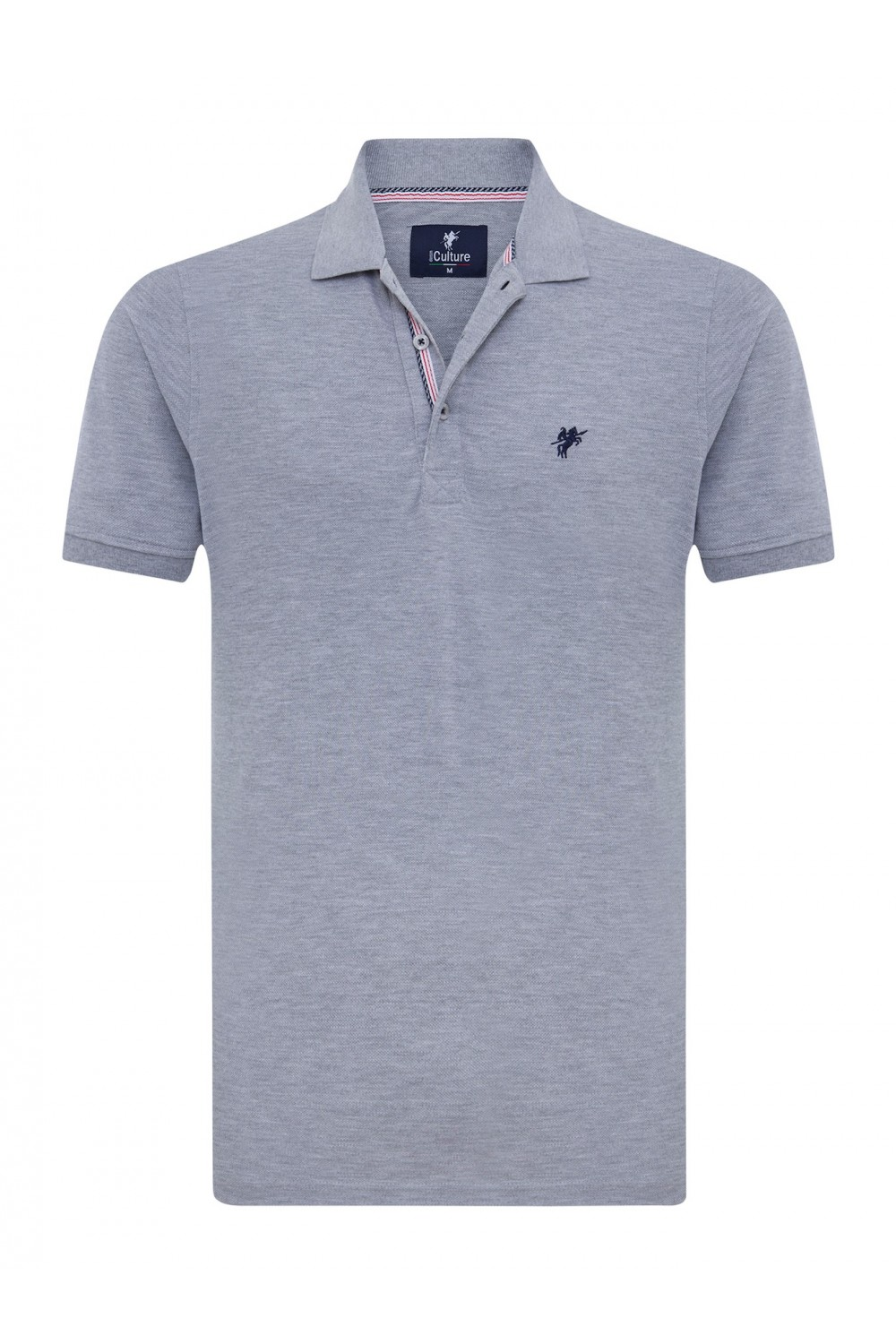 Men's Poloshirt Knitted Heather Gray Cotton