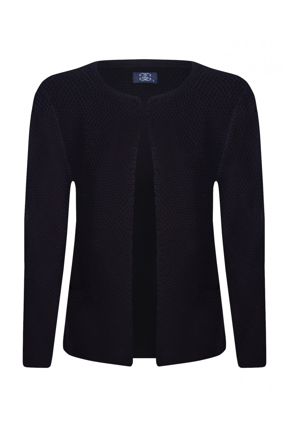 Women's Cardigan Hook Crew Neck Black