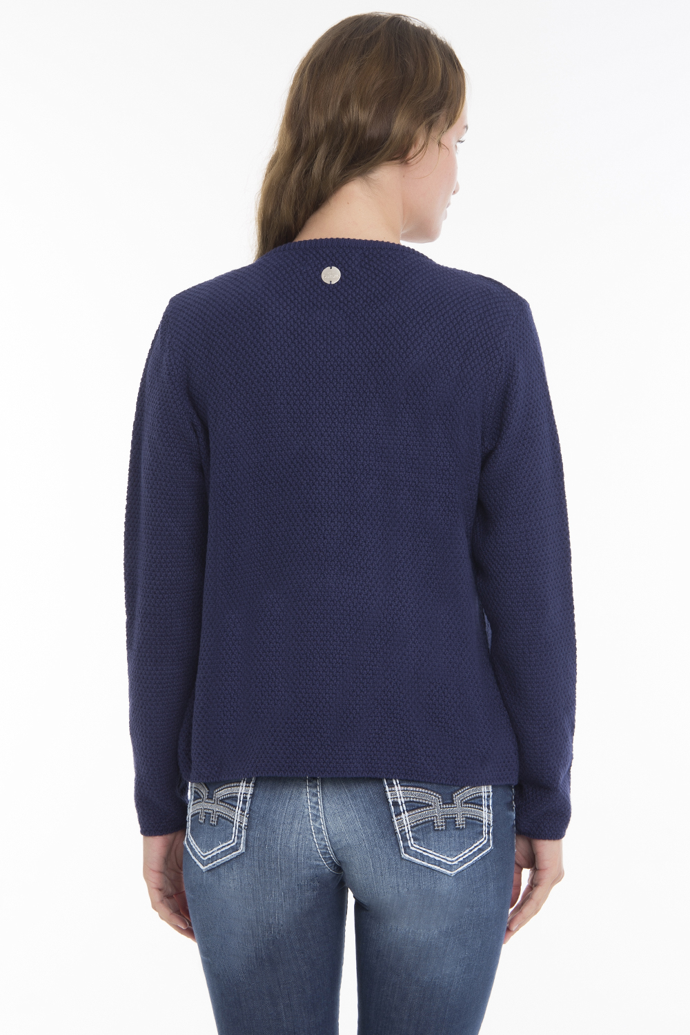 Women's Cardigan Hook Crew Neck Navy