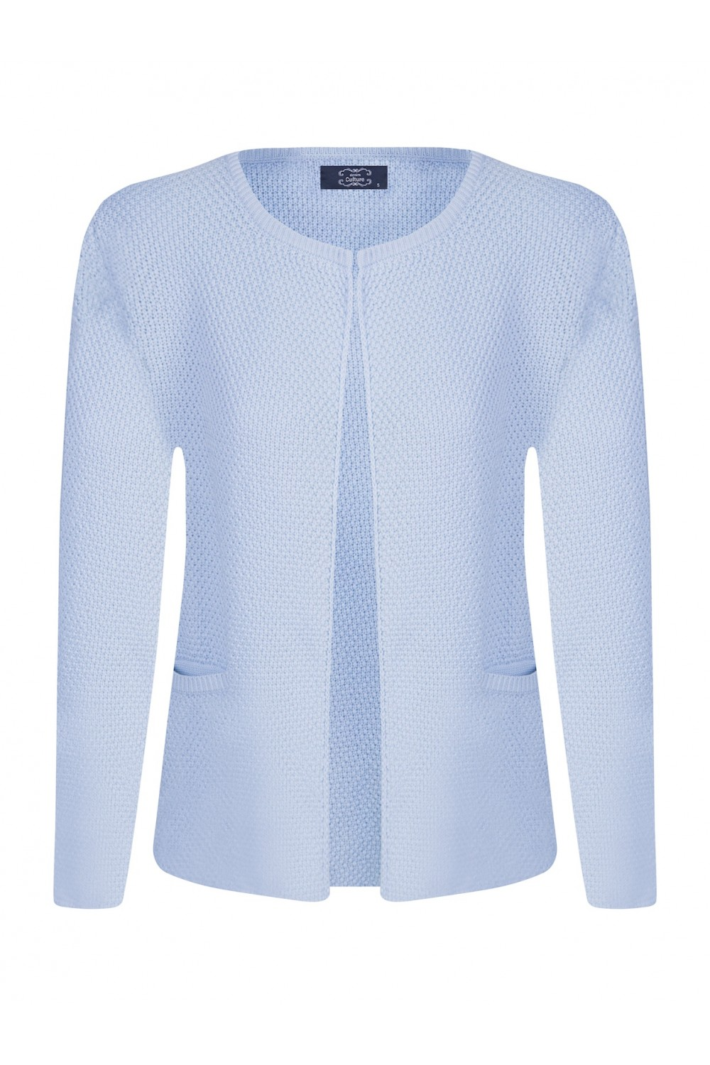 Women's Cardigan Hook Crew Neck Blue
